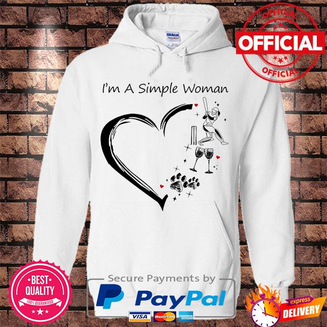 I am a simple woman baseball wine dog paw and flip flop s Hoodie white