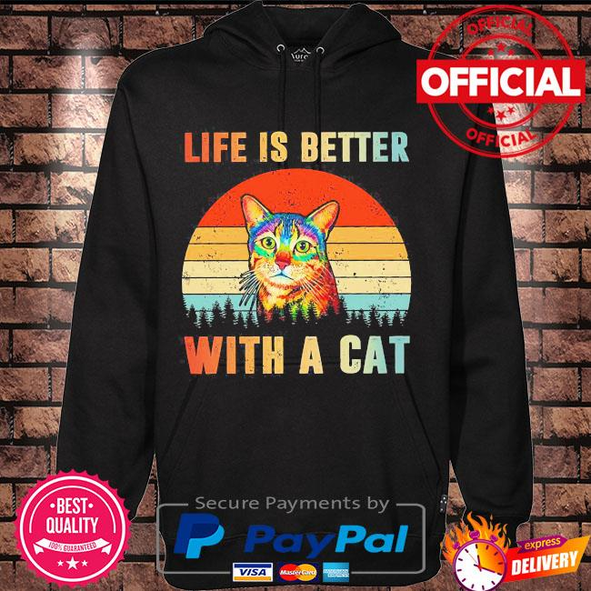 Life is better with a Cat vintage s Hoodie black