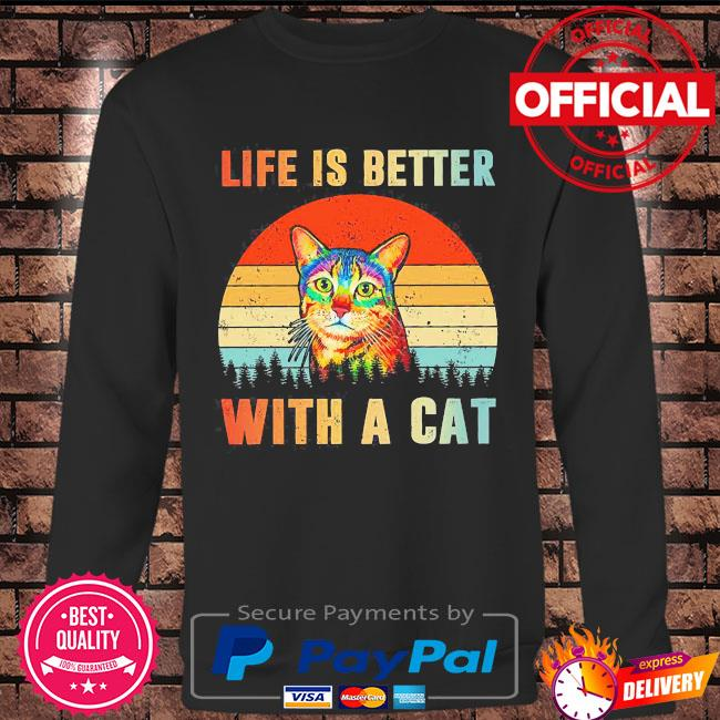 Life is better with a Cat vintage s Long sleeve black