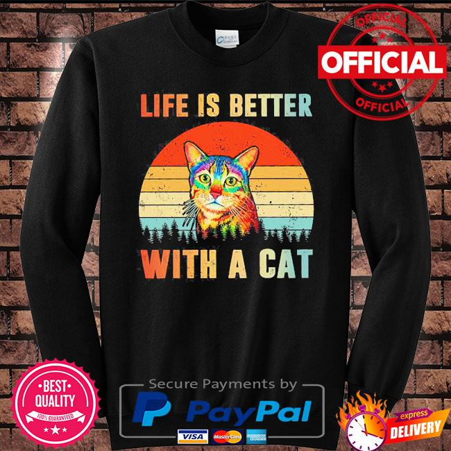 Life is better with a Cat vintage s Sweater black
