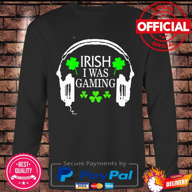 Irish I was gaming st patrick's day gamer tote hat s Long sleeve black