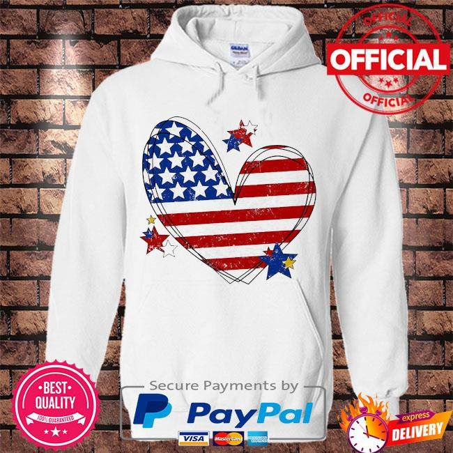 American flag heart matching family july 4th s Hoodie white