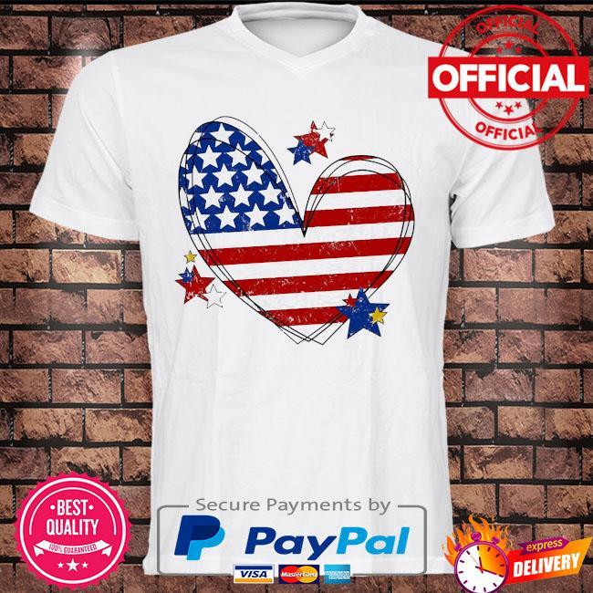 American flag heart matching family july 4th shirt