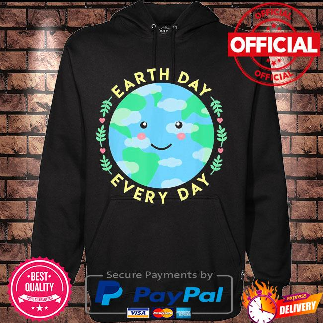 Earth day every day love the environment cute kawaii planet s Hoodie black
