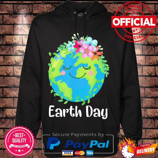 Happy earth day cute earth with floral earth day 2021 s Hoodie black