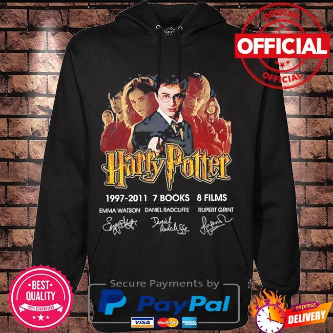 Harry potter 1997-2011 7 books 8 films signatures s Hoodie black
