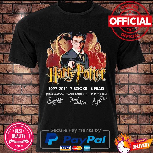 Harry potter 1997-2011 7 books 8 films signatures shirt