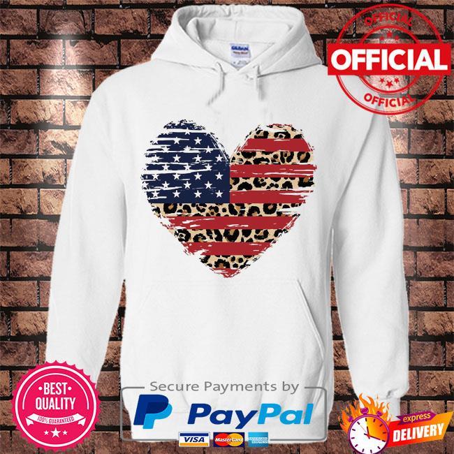 Heart American flag s Hoodie white