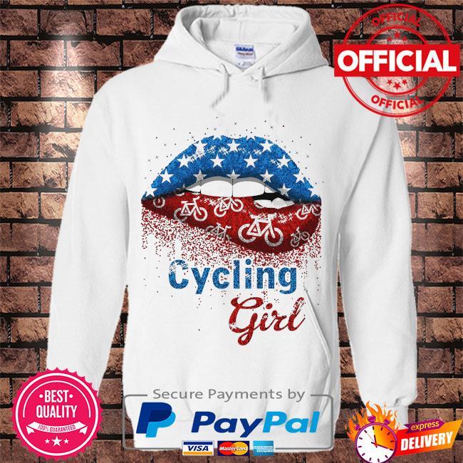 Lips Cycling Girl s Hoodie white