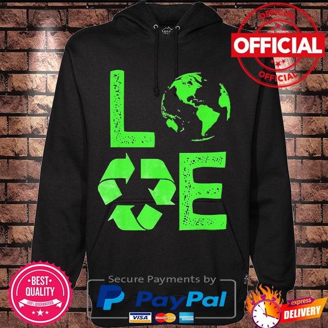 Love earth day 90s planet vintage recycling s Hoodie black