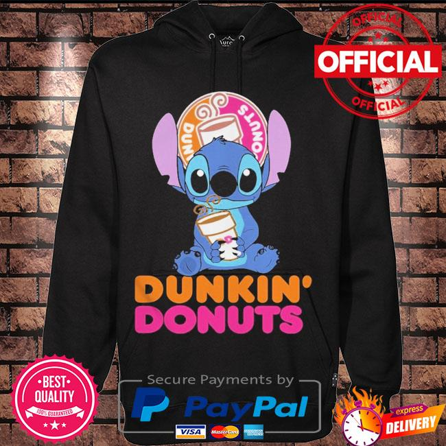 Official Baby stitch hug Dunkin' Donuts 2021 s Hoodie black