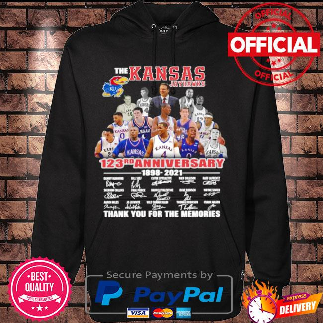 Official The Kansas jayhawks 123rd anniversary 1989 2021 thank you for the memories signatures s Hoodie black