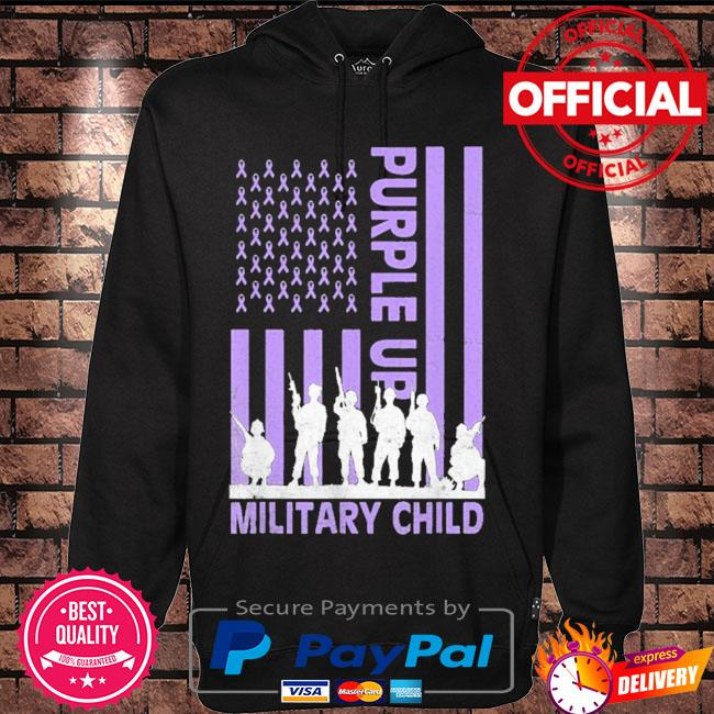 Purple up for military kids military child American flag s Hoodie black