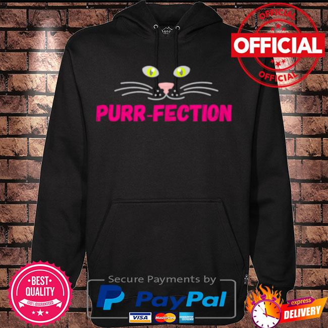 Purrfection cute cats eyes nose mouth face design s Hoodie black