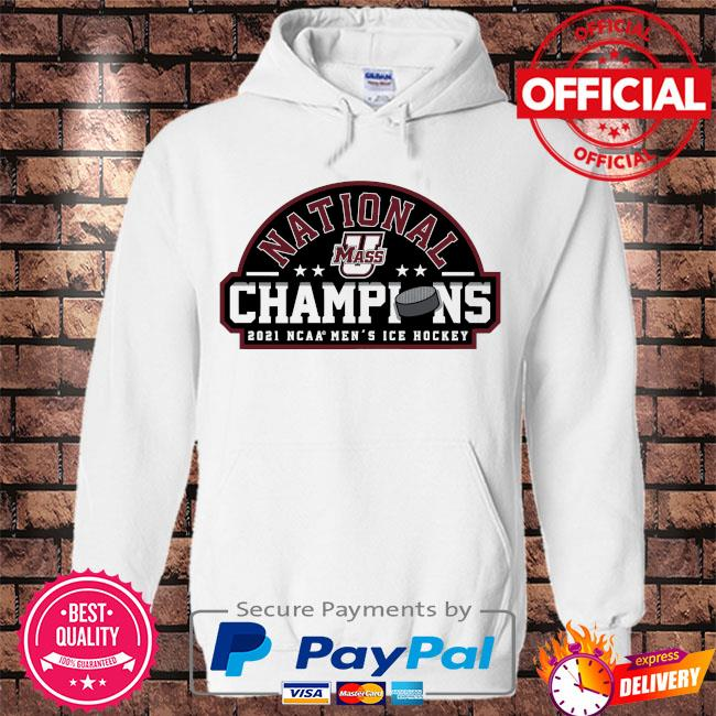 Umass minutemen fanatics branded 2021 ncaa men's ice hockey national champions s Hoodie white