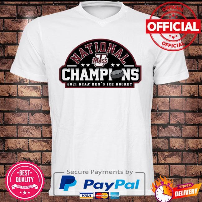 Umass minutemen fanatics branded 2021 ncaa men's ice hockey national champions shirt