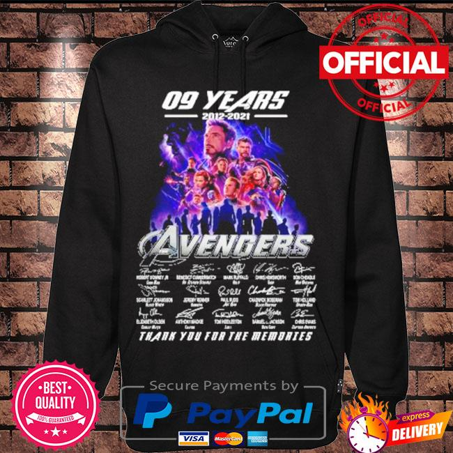 The avengers assemble 09 years 2012-2021 signatures thank you for the memories s Hoodie black