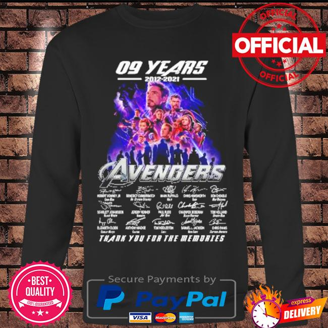 The avengers assemble 09 years 2012-2021 signatures thank you for the memories s Long sleeve black