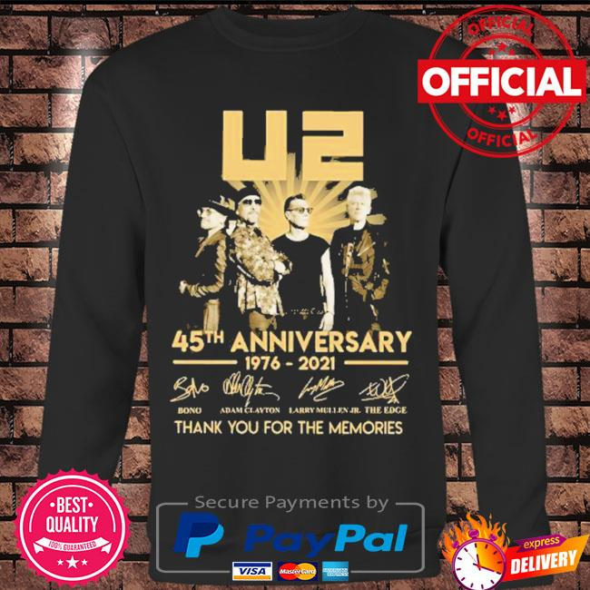 Best 45th anniversary U2 1976-2021 signatures thank you for the memories s Long sleeve black