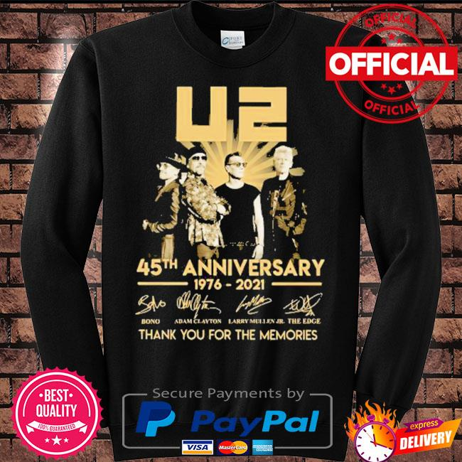 Best 45th anniversary U2 1976-2021 signatures thank you for the memories s Sweater black
