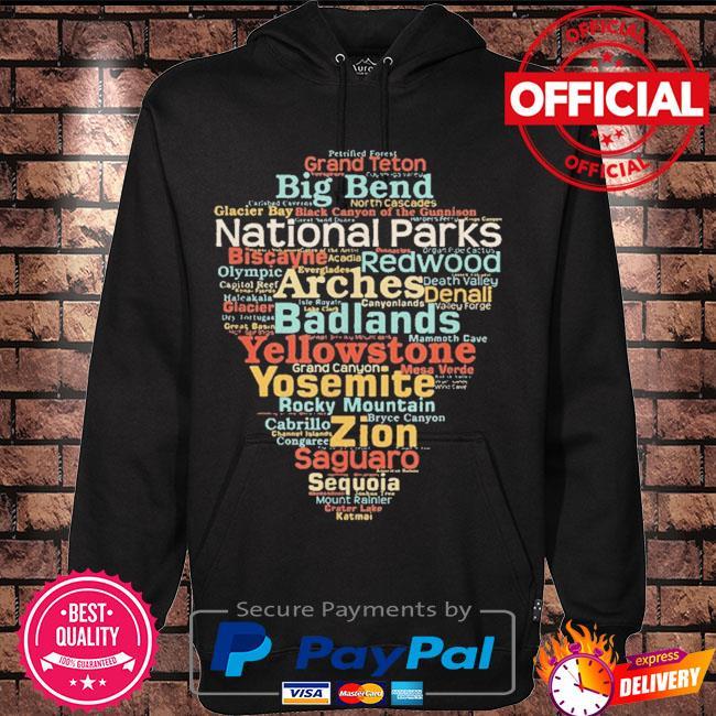National parks list word cloud camping hiking s Hoodie black