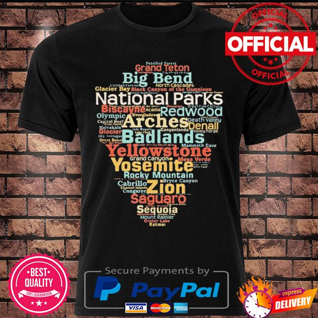 National parks list word cloud camping hiking shirt