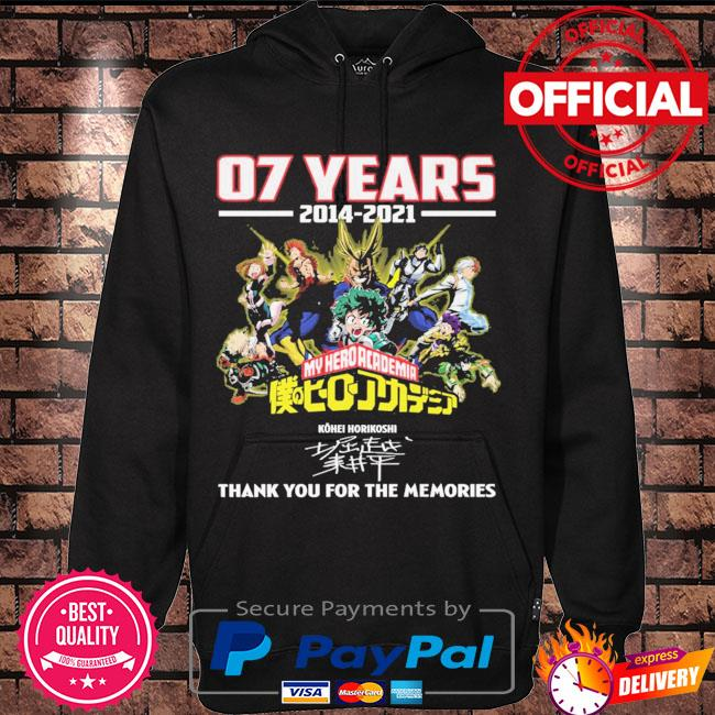 Official 07 years 2014 2021 My Hero Academia thank you for the memories signatures s Hoodie black