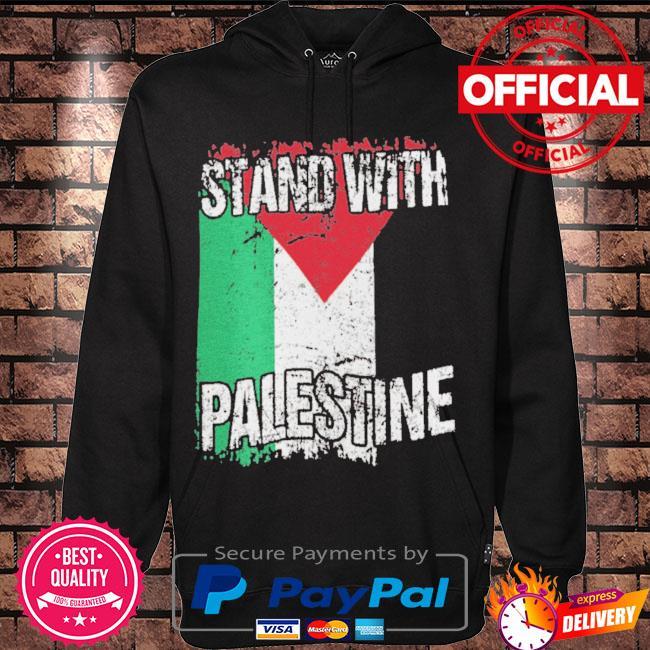 Stand with palestine vintage distressed palestinian flag s Hoodie black