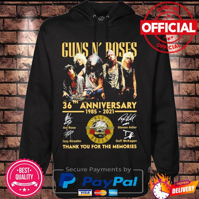 Funny Guns N' Roses 36th anniversary 1985 2021 thank you for the memories signatures s Hoodie black