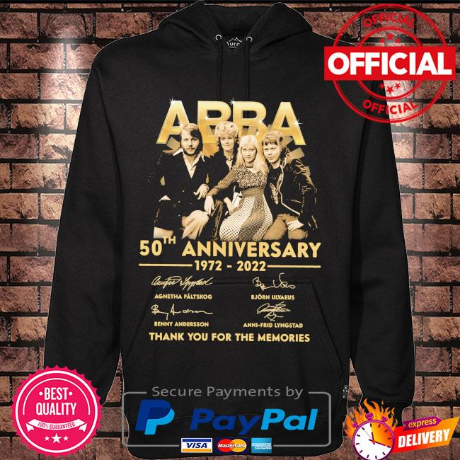 Abba 50th anniversary 1972 2022 thank you for the memories signatures s Hoodie black