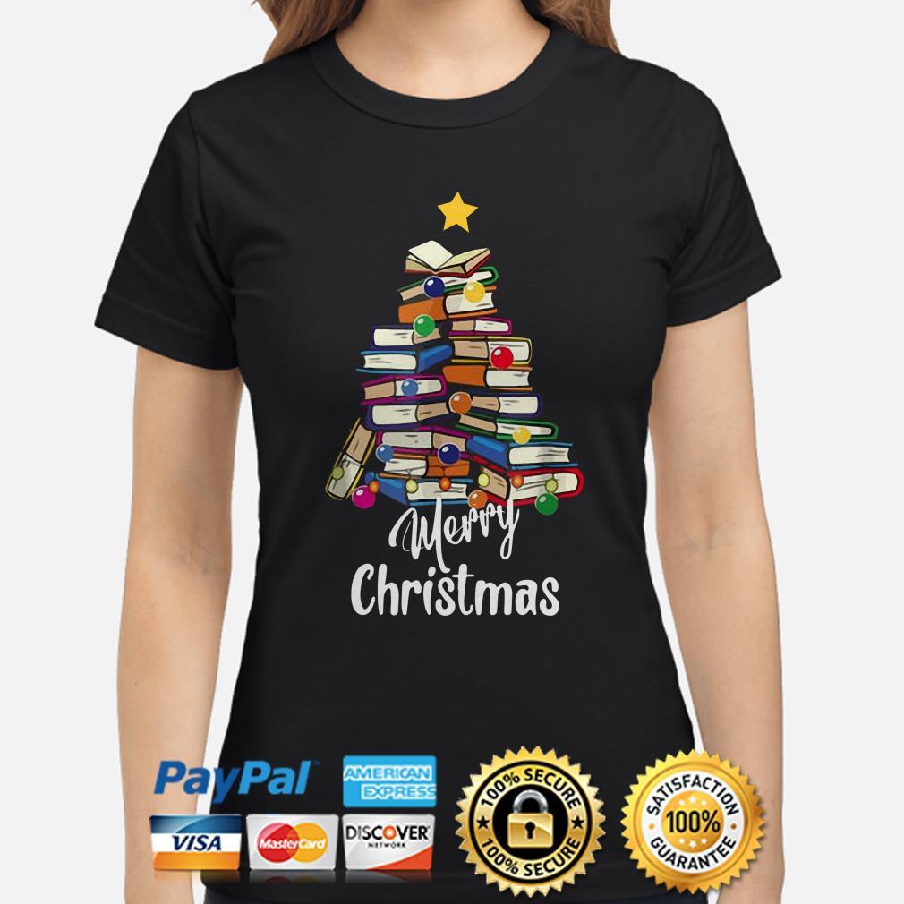 Books Christmas tree Merry Christmas ladies shirt