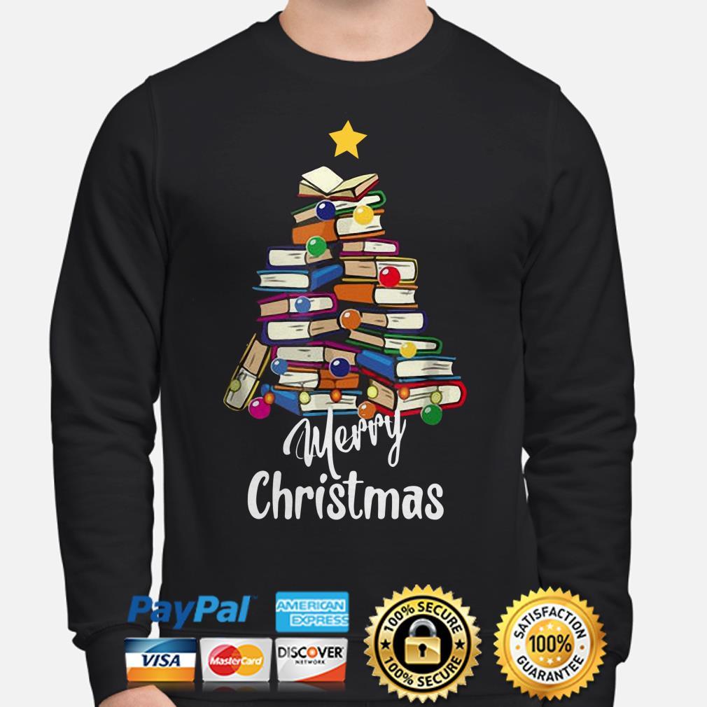 Books Christmas tree Merry Christmas sweater