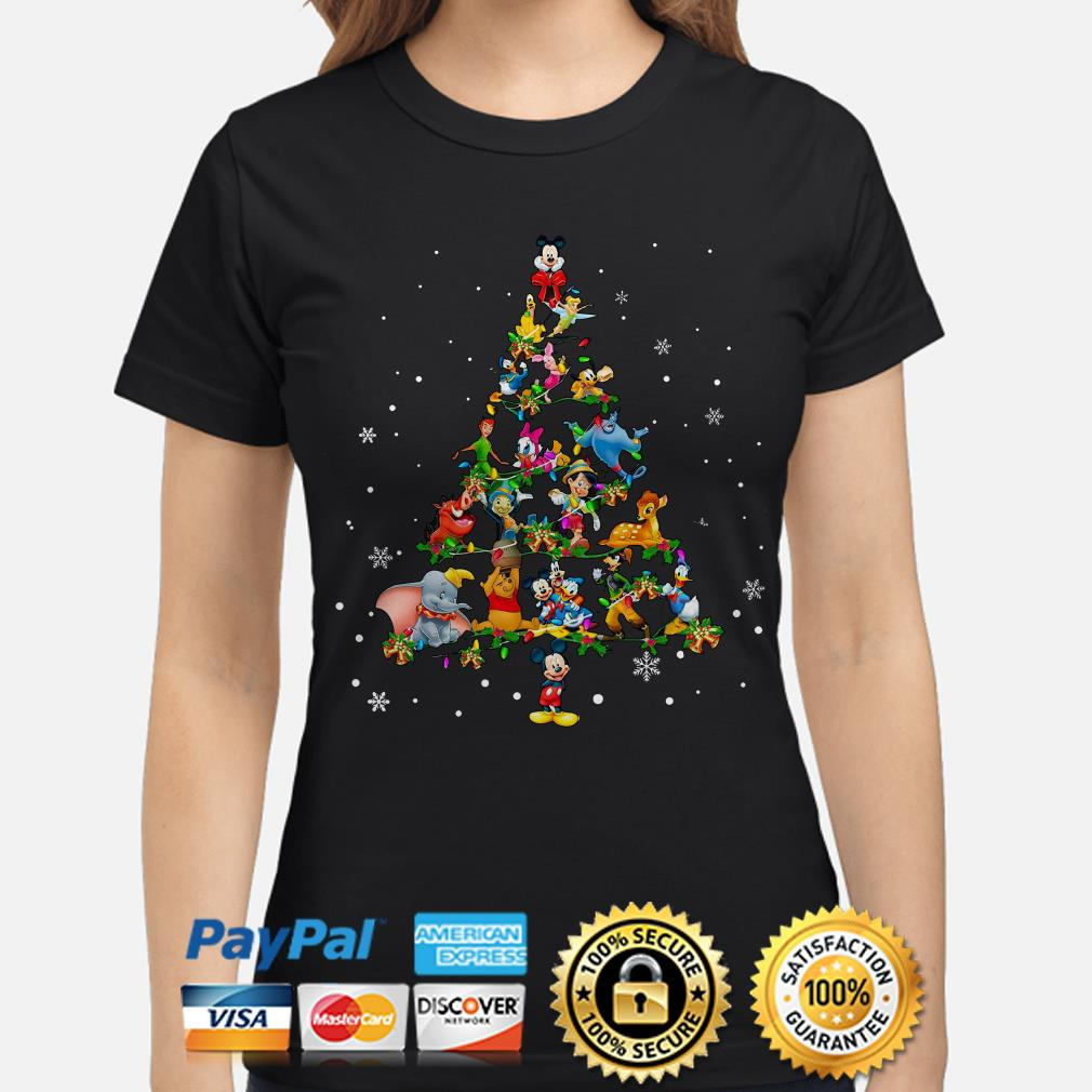 Disney Characters Christmas tree ladies shirt