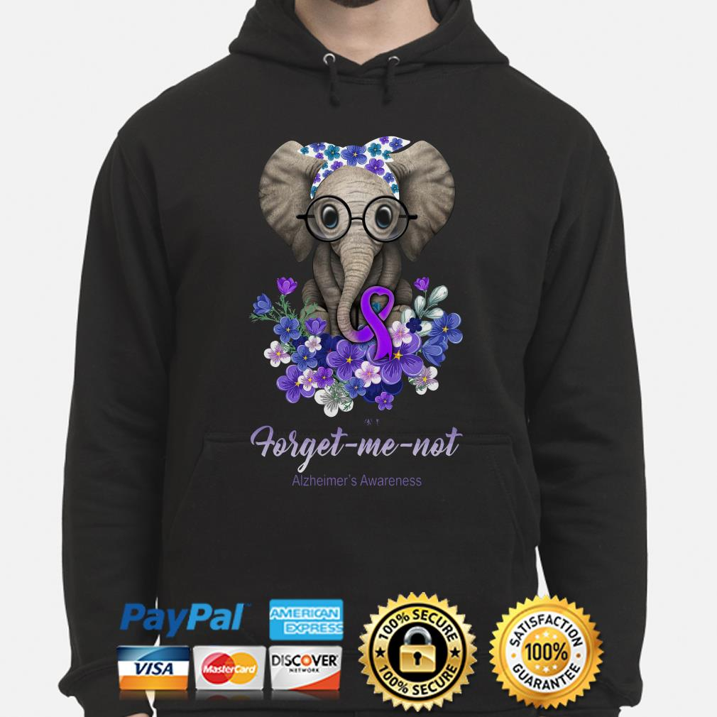 Elephant Violet flowers forget me not Alzheimer's Awareness hoodie
