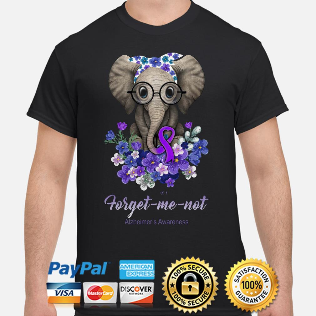 Elephant Violet flowers forget me not Alzheimer's Awareness shirt