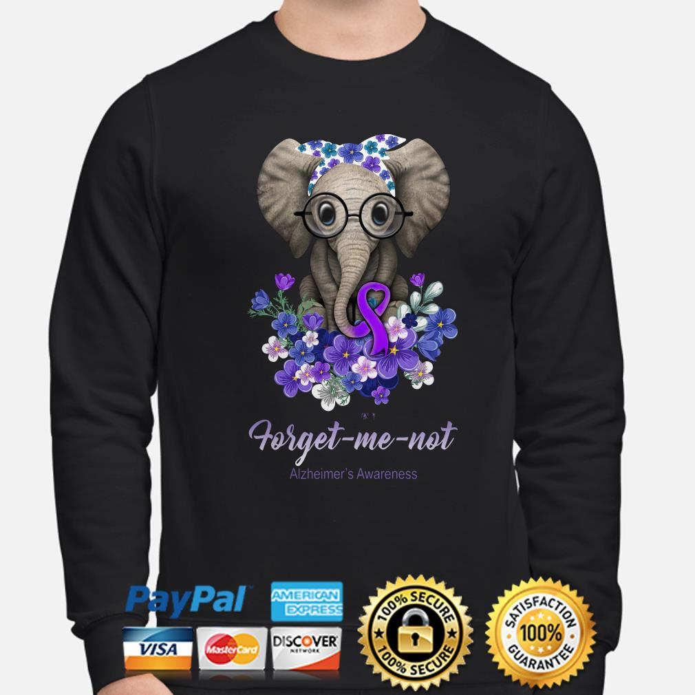 Elephant Violet flowers forget me not Alzheimer's Awareness sweater