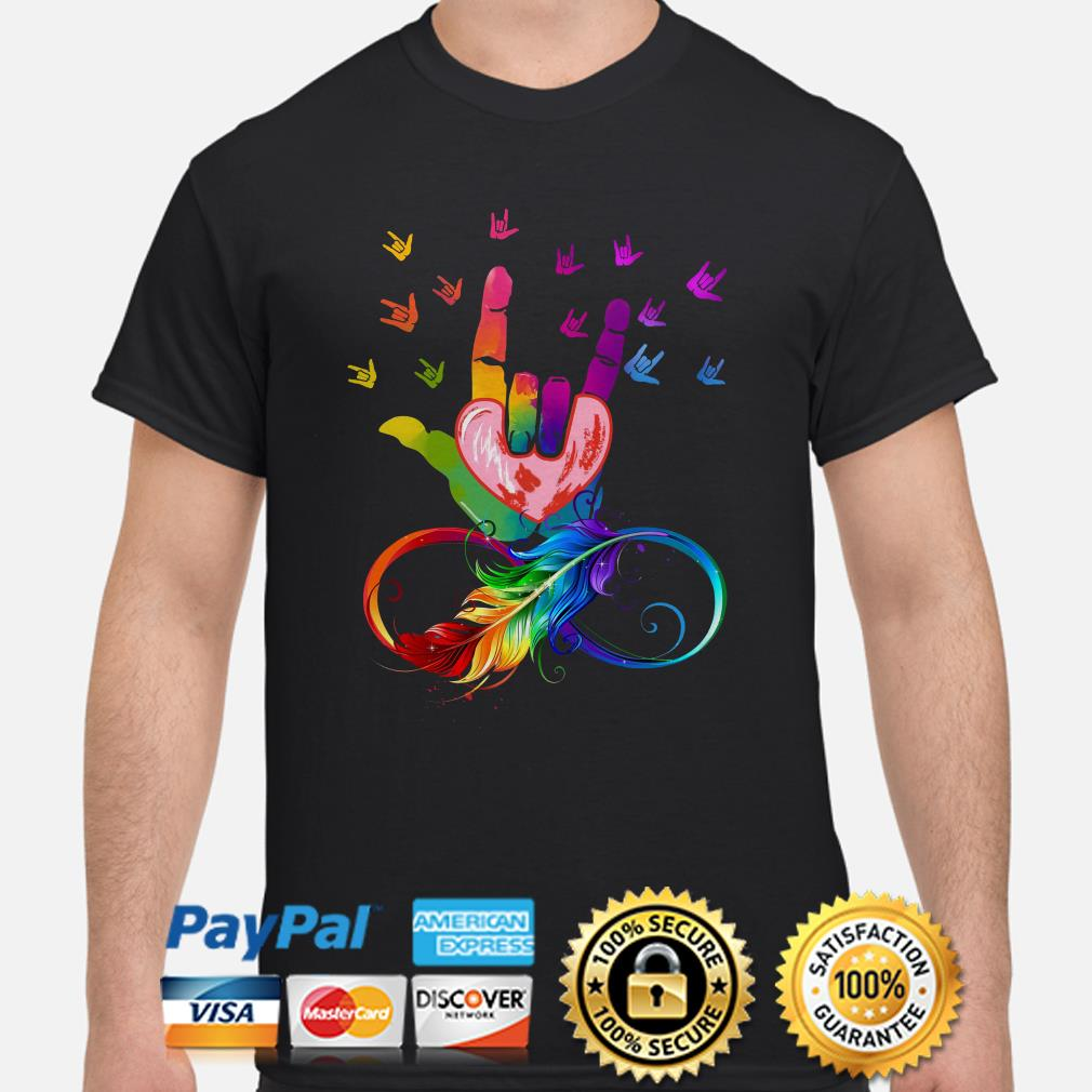 Feather LGBT I love you sign language shirt