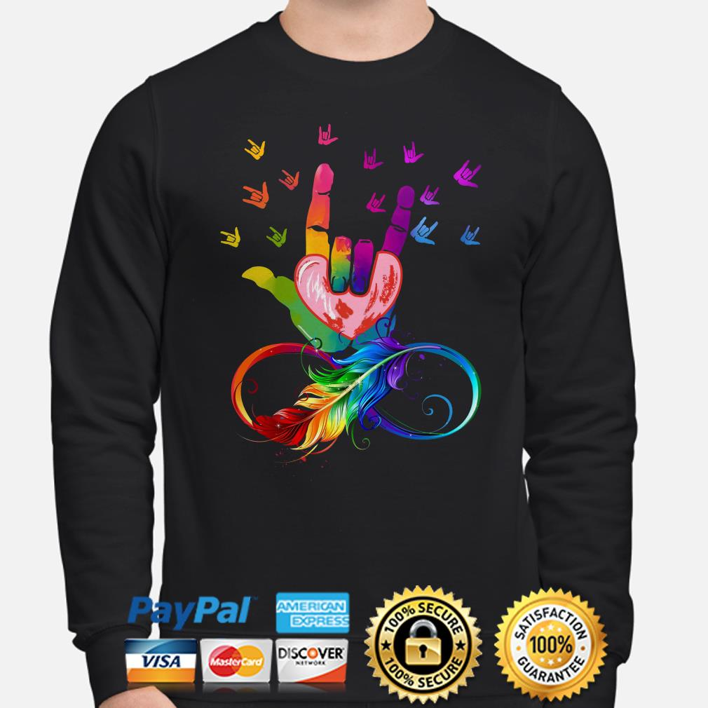 Feather LGBT I love you sign language sweater