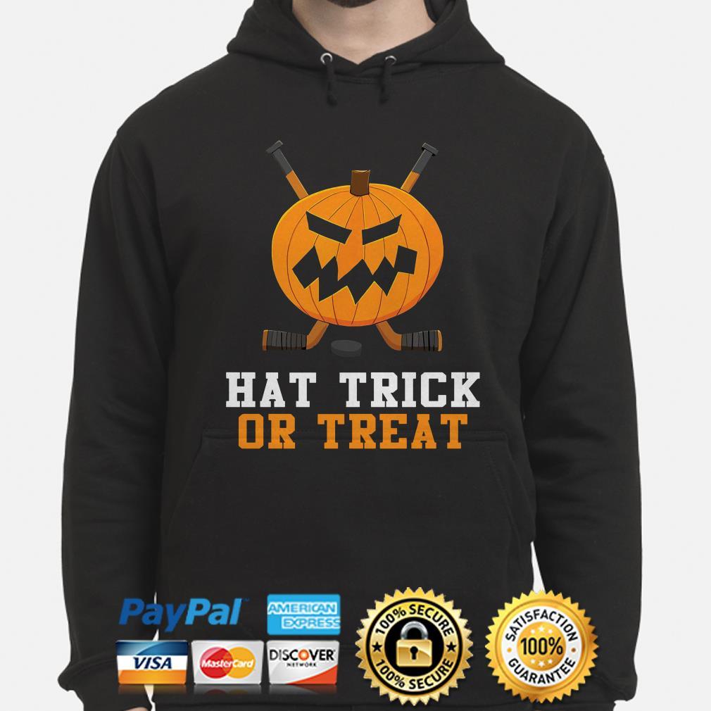 Hockey Pumpkin Hat trick or Treat Halloween hoodie