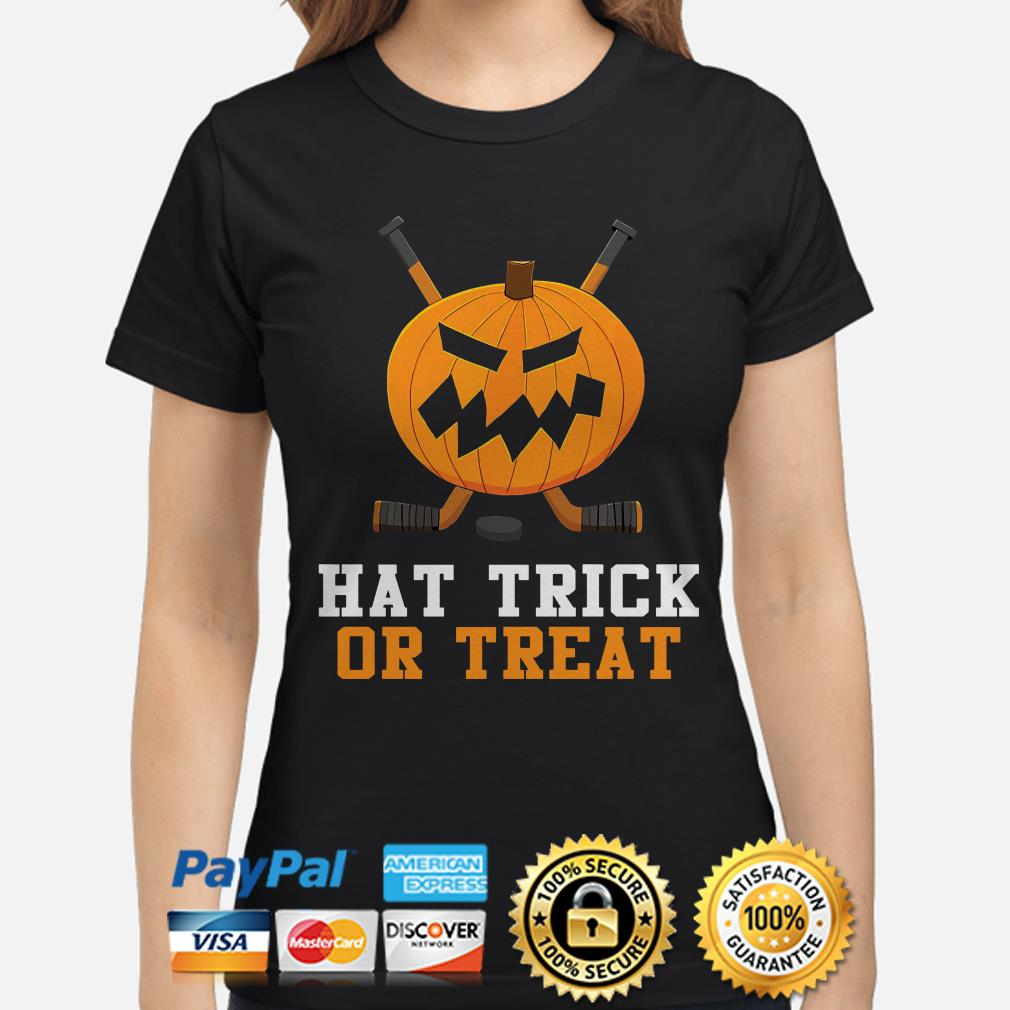 Hockey Pumpkin Hat trick or Treat Halloween ladies shirt