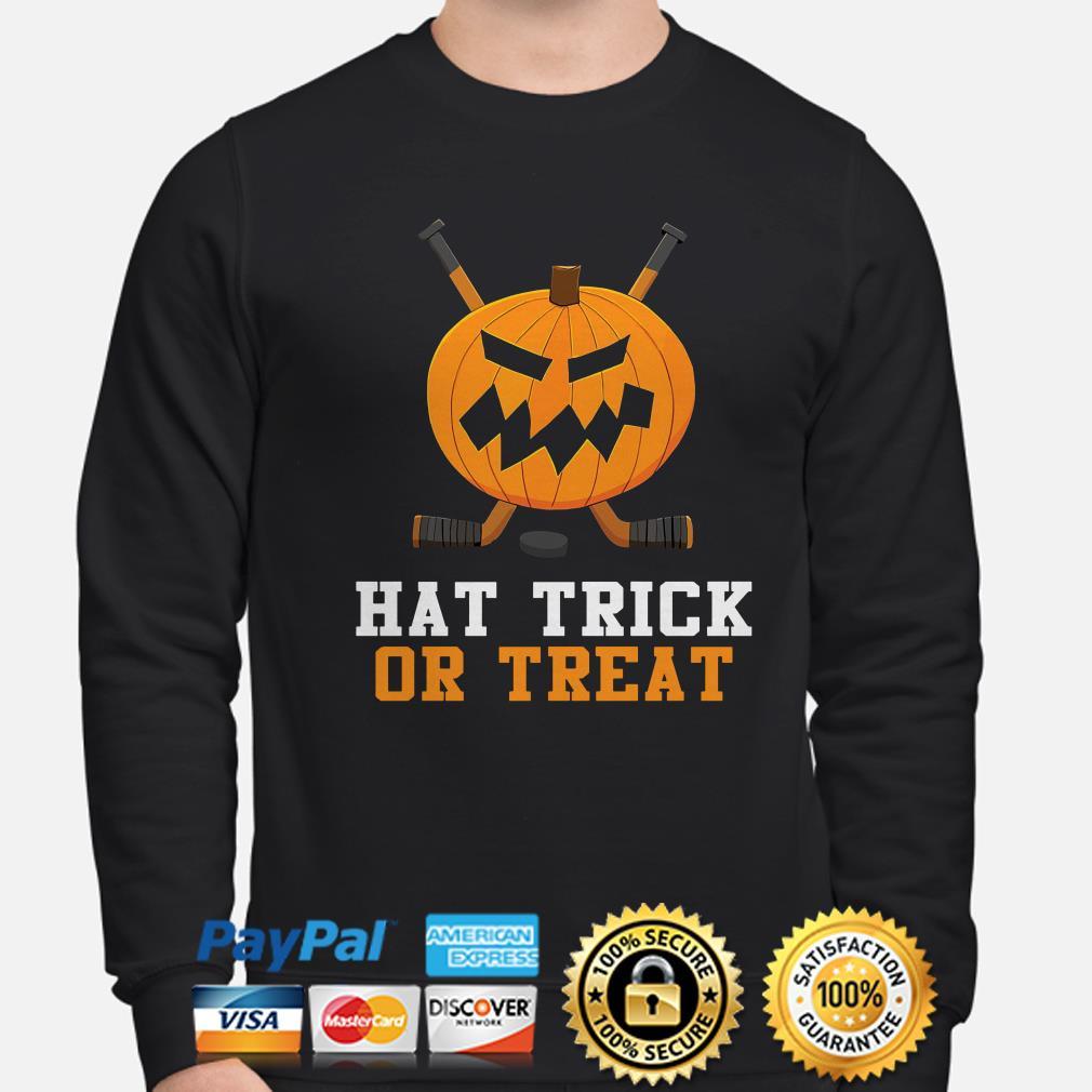Hockey Pumpkin Hat trick or Treat Halloween sweater