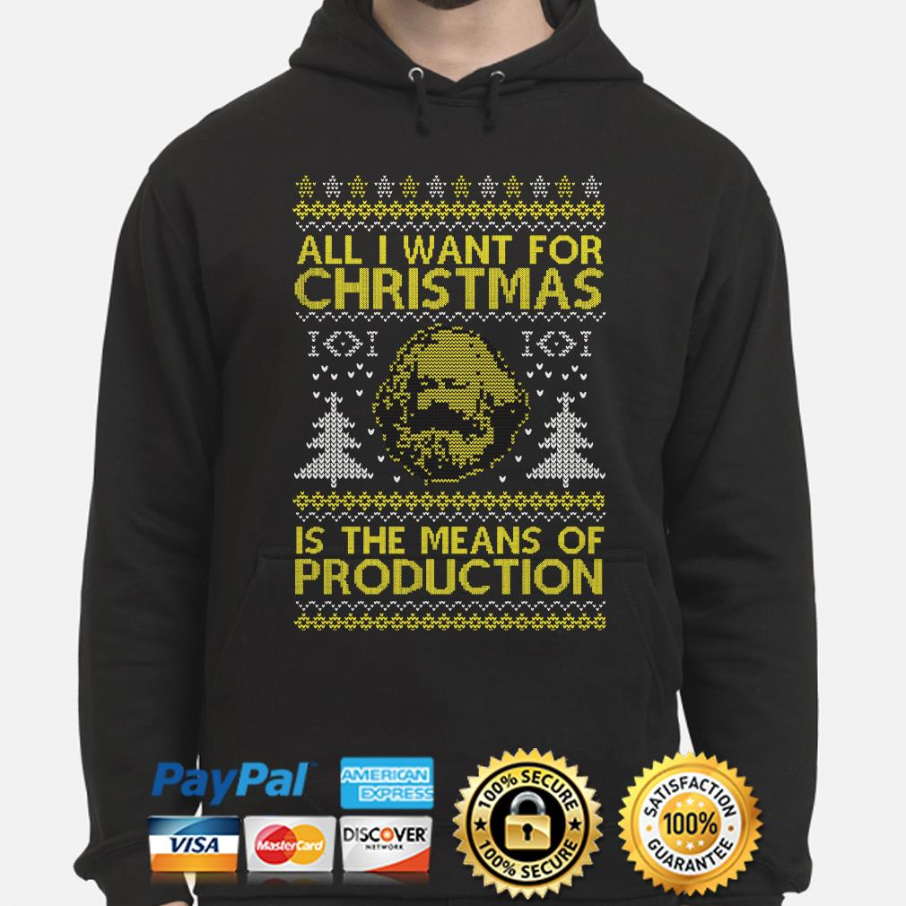 Karl Marx all I want for Christmas is the means of Production ugly hoodie