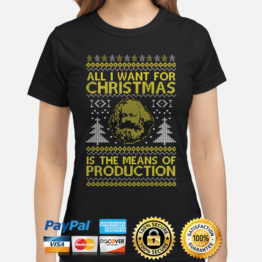 Karl Marx all I want for Christmas is the means of Production ugly ladies shirt