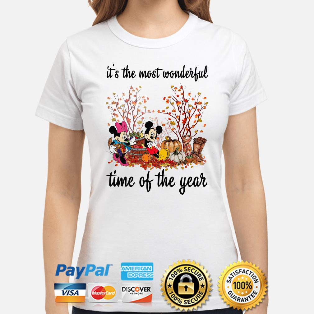 Mickey and Minnie Pumpkin it's the most wonderful time of the year ladies shirt