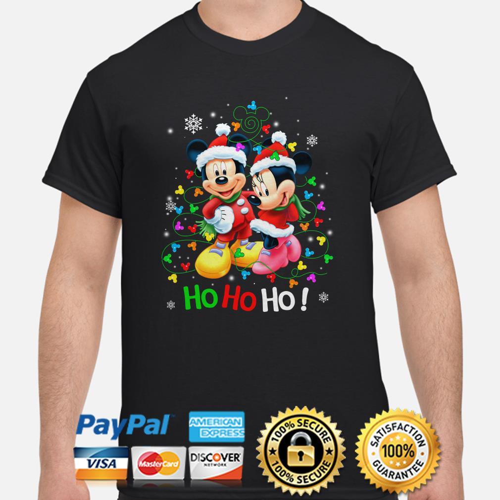 Mickey and Minnie Christmas lights Ho Ho Ho shirt