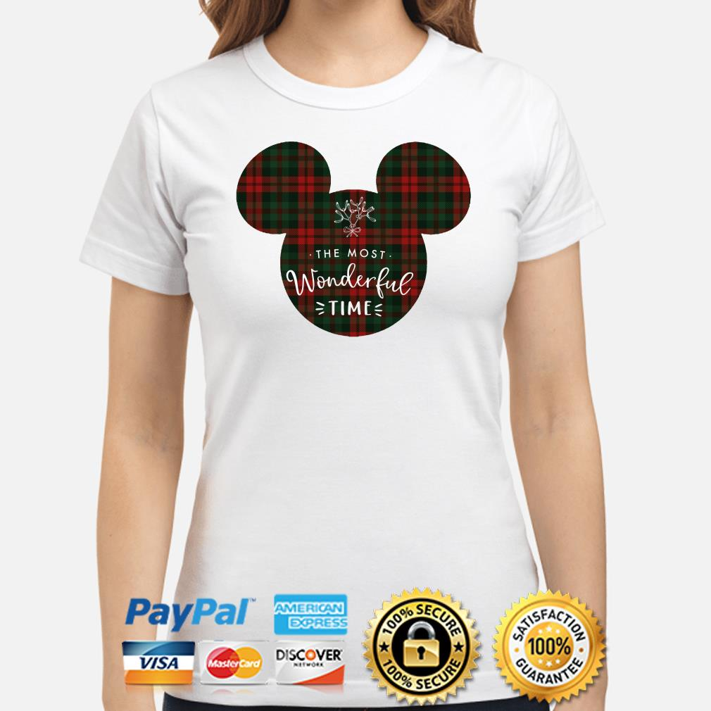 Mickey the most wonderful time Christmas ladies shirt