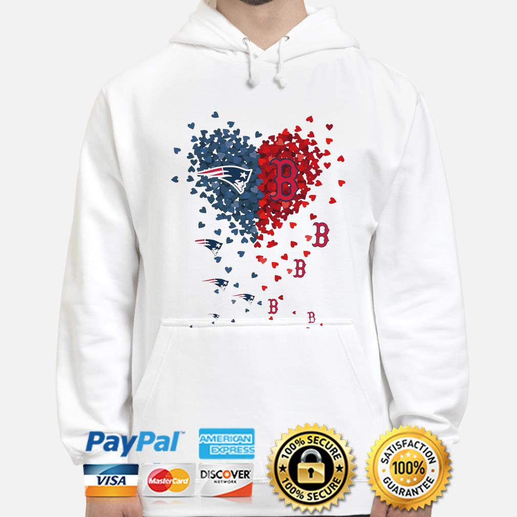 New England Patriots and Boston Red Sox love hearts hoodie