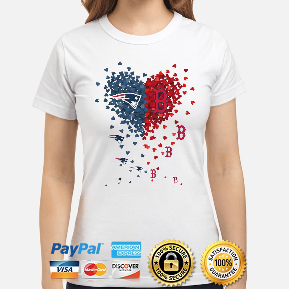 New England Patriots and Boston Red Sox love hearts ladies shirt