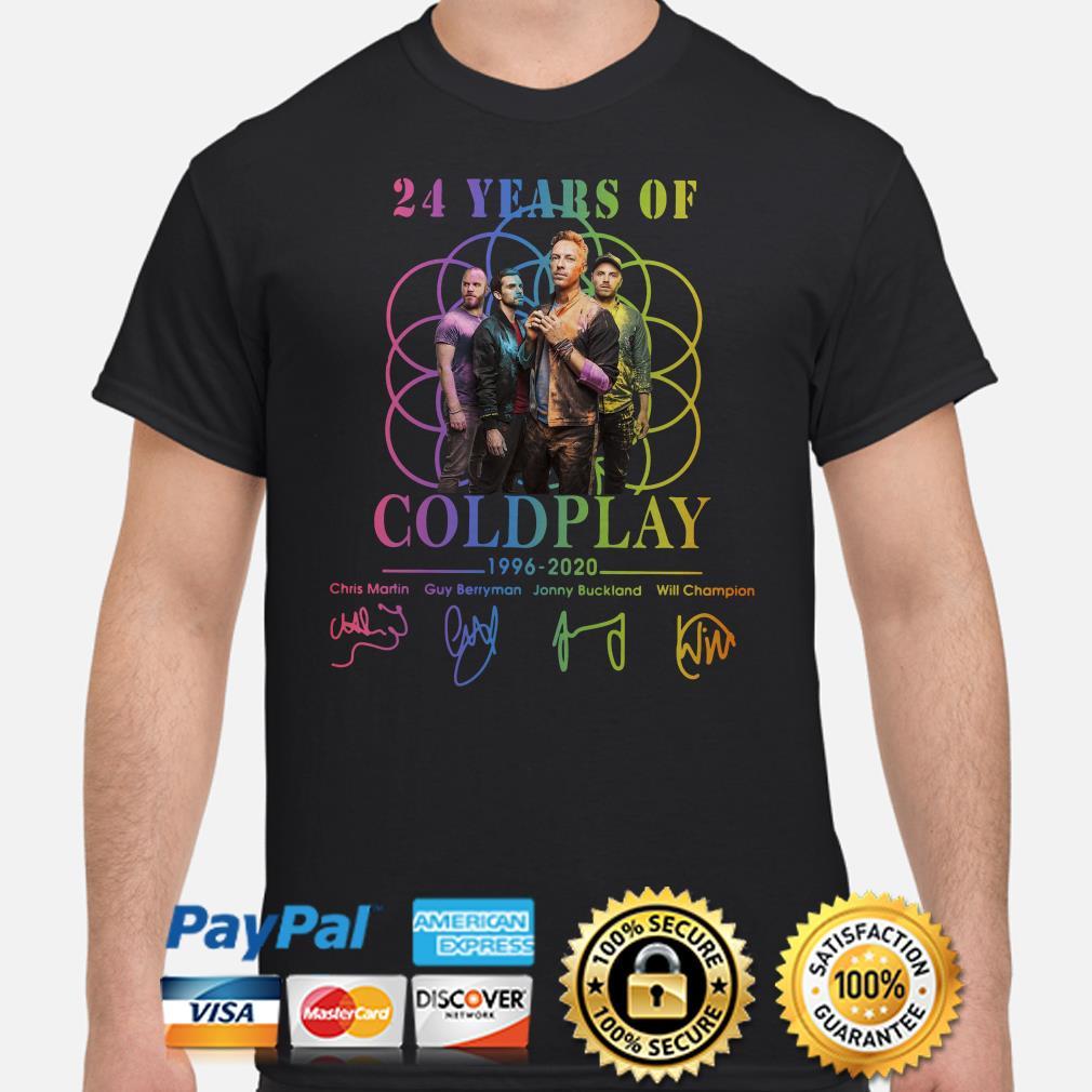 24 years of Coldplay 1996 2020 signature shirt