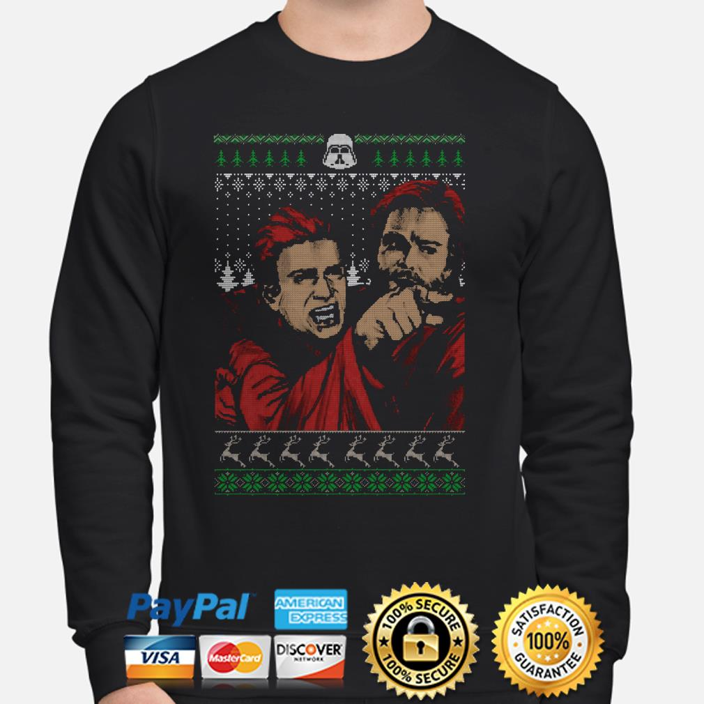 Angry man yelling at dinner baby Yoda ugly Christmas sweater